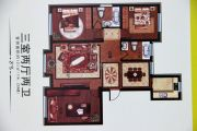 香格里拉花园3室2厅2卫131平方米户型图