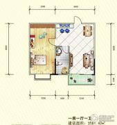 岳塘映象1室1厅1卫61平方米户型图