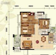 天鹅湾3室2厅2卫126平方米户型图