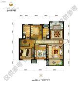 金科博翠园3室2厅2卫128平方米户型图