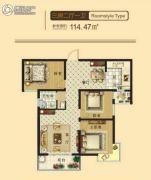 东鑫中央公园3室2厅1卫114平方米户型图
