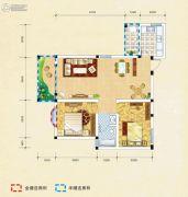 弘乐府・公园1号2室2厅1卫88平方米户型图