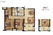 九龙仓君廷3室2厅1卫86平方米户型图