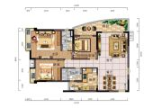 时代御京新城3室2厅2卫128平方米户型图