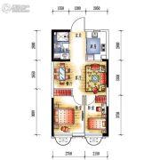 中央学府2室2厅1卫60平方米户型图