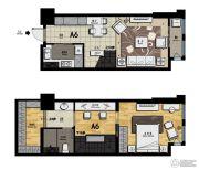 帝景现代城1室2厅1卫53平方米户型图