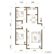 物华兴洲苑2室2厅1卫90平方米户型图