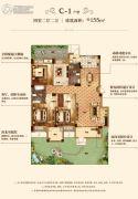 汇悦天地4室2厅2卫155平方米户型图
