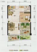 博鑫双湾国际2室2厅1卫58平方米户型图