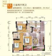 川三滨岛花园3室2厅2卫115平方米户型图