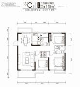 印力中心3室2厅2卫110平方米户型图