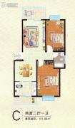 清华苑二期2室2厅1卫101平方米户型图