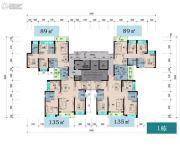 中粮天悦壹号3室2厅1卫89--135平方米户型图