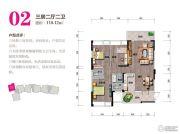 万和世纪城3室2厅2卫118平方米户型图