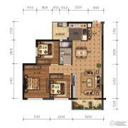 领美・大学家园3室2厅1卫88平方米户型图