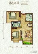 绿朗时光2室2厅1卫89平方米户型图