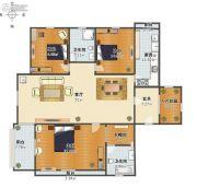 天玺台翡翠系精装3室1厅2卫176平方米户型图
