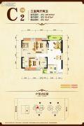 康隆・财富旺角3室2厅2卫107平方米户型图