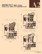 银翔城2室2厅2卫79平方米户型图
