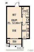 中建・海德壹号1室1厅1卫52平方米户型图