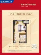 万达广场1室1厅1卫34平方米户型图
