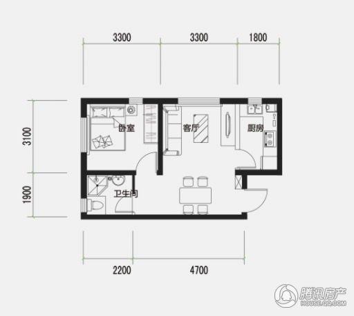 西美花街非常公寓F1户型 59㎡