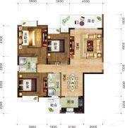 书香门第3室2厅2卫0平方米户型图