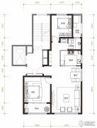 曦园2室2厅1卫95平方米户型图