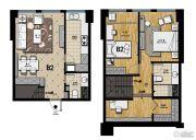帝景现代城2室2厅2卫60平方米户型图