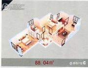 龙溪第2室1厅1卫88平方米户型图
