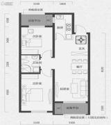 唐轩首府2室2厅1卫79平方米户型图