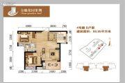 金鹿花园三期2室2厅1卫80平方米户型图