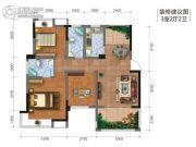 钻石广场3室2厅2卫95平方米户型图