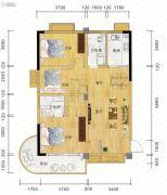 麓山枫情3室2厅1卫96平方米户型图