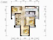 蓝光乐彩城3室2厅1卫65平方米户型图