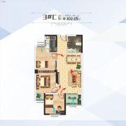 百汇国贸中心3室2厅1卫102平方米户型图