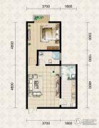 翱达公馆1室1厅1卫52平方米户型图