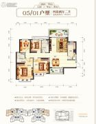 钦州恒大学府4室2厅2卫136平方米户型图