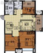 国信紫玉台3室2厅1卫89平方米户型图