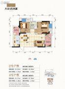 大川滨水城2室2厅0卫66--67平方米户型图