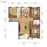 保利中心3室2厅2卫138平方米户型图
