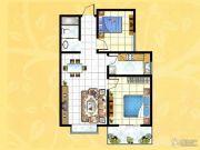 揽翠城2室2厅1卫88平方米户型图