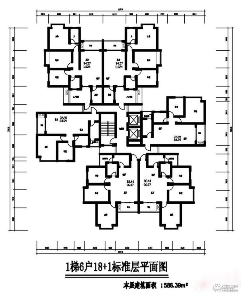 两梯六户平面图高清