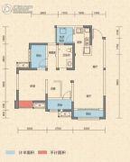 中铁丽景书香3室2厅1卫83平方米户型图