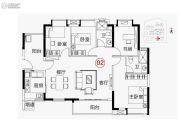 越秀可逸新势力4室2厅2卫127平方米户型图