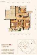 三水润园一期3室2厅2卫98平方米户型图
