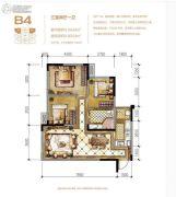 蓝光中央广场3室2厅1卫64平方米户型图