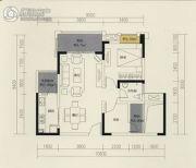 保利国际城翡丽湾2室2厅1卫77平方米户型图