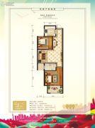 中泽纯境2室2厅1卫68平方米户型图