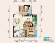 清风华园2室2厅1卫77平方米户型图
